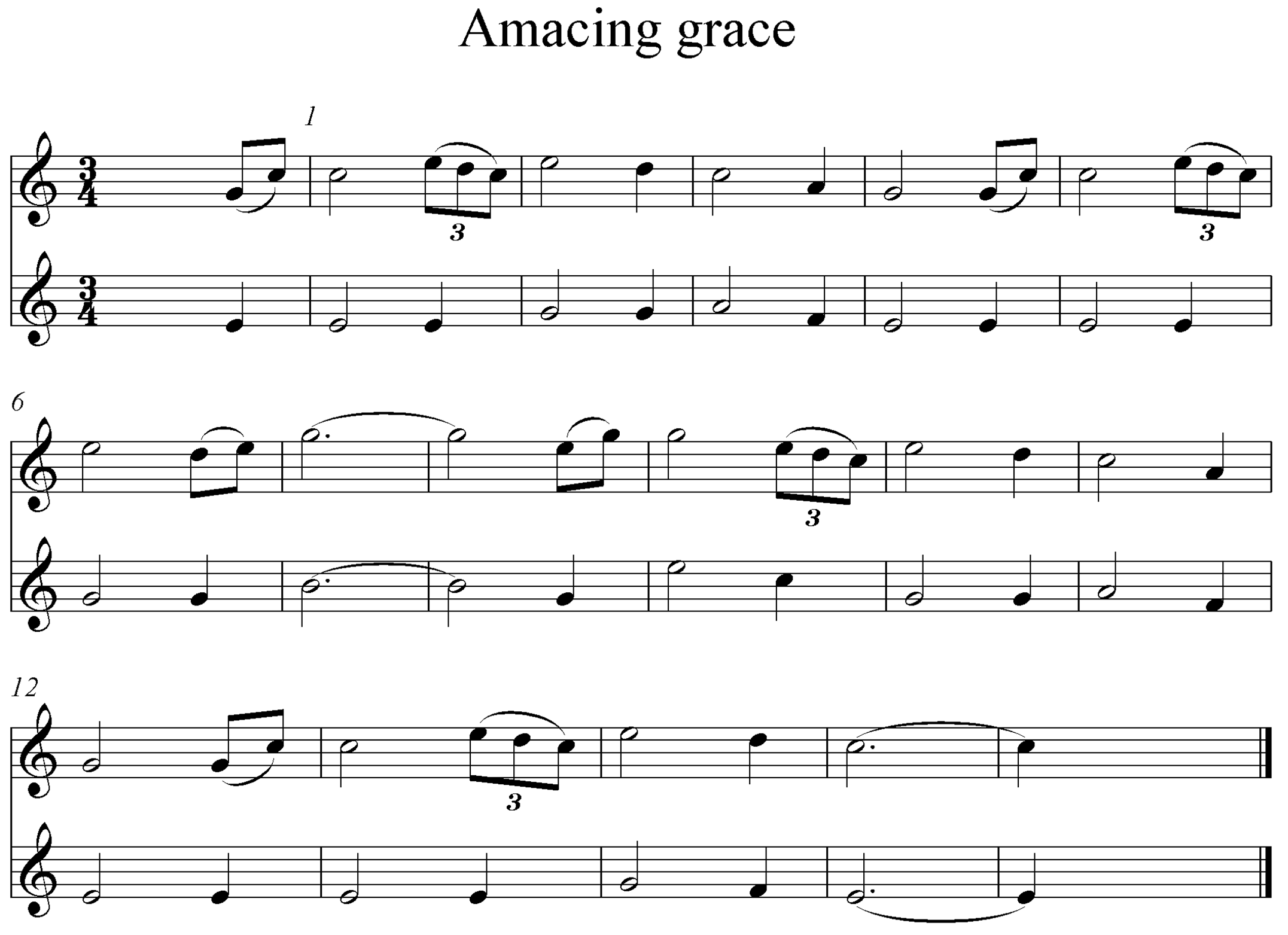 Noten Amazing Grace
