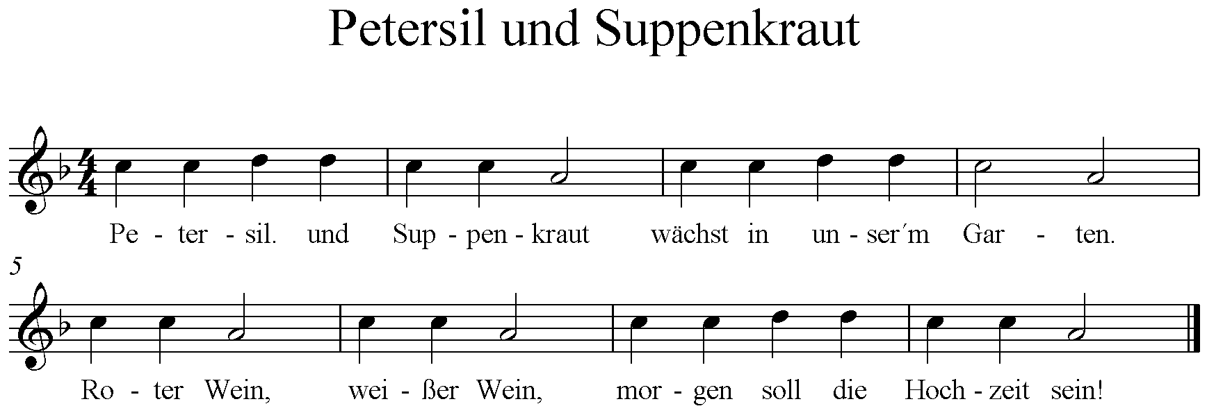 Noten Petersil und Suppenkraut
