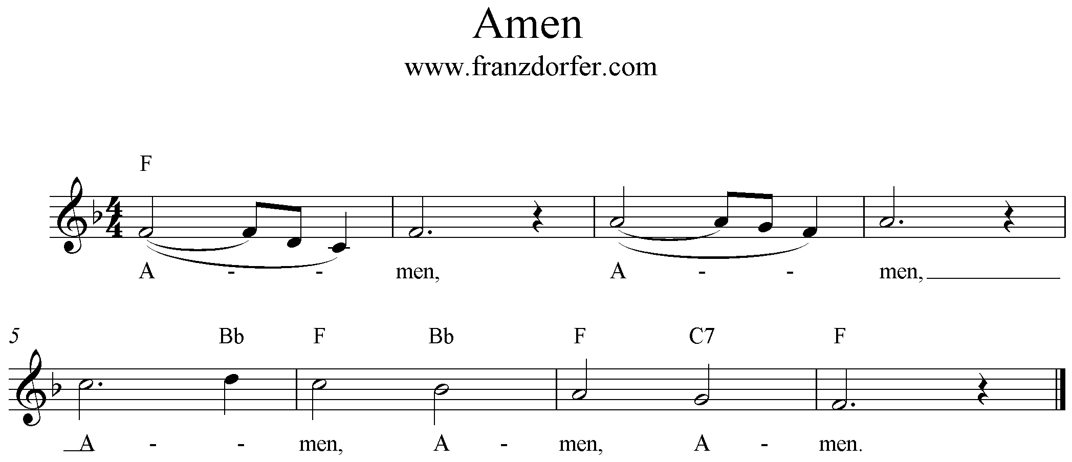 Noten Amen sheet