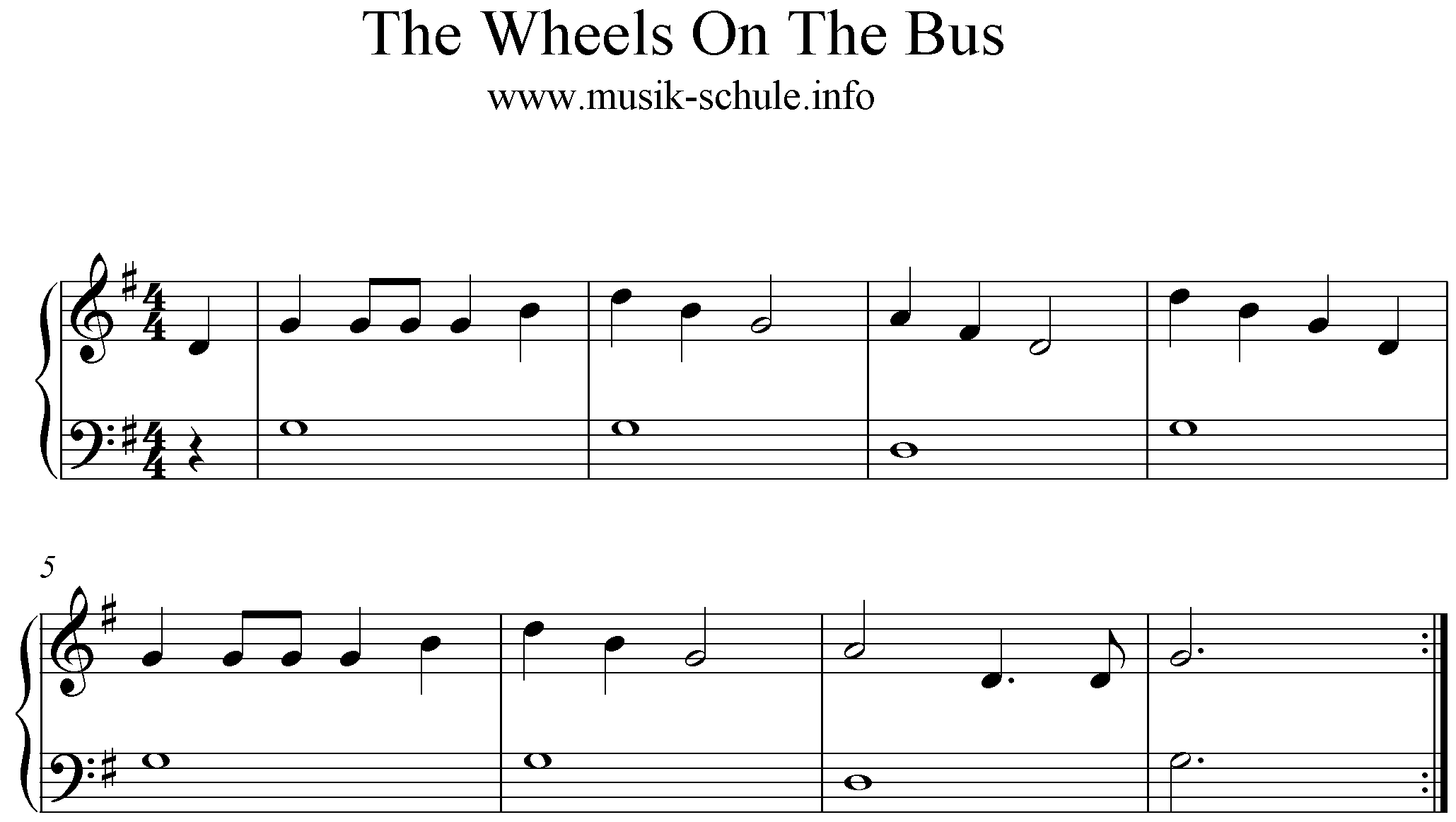 Sheetmusic The Wheels On The Bus, G-Major for Recorder
